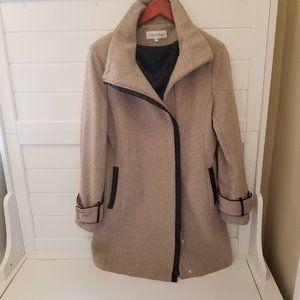 Women's Calvin Klein Tan Wool Coat w/Faux Fur Trim